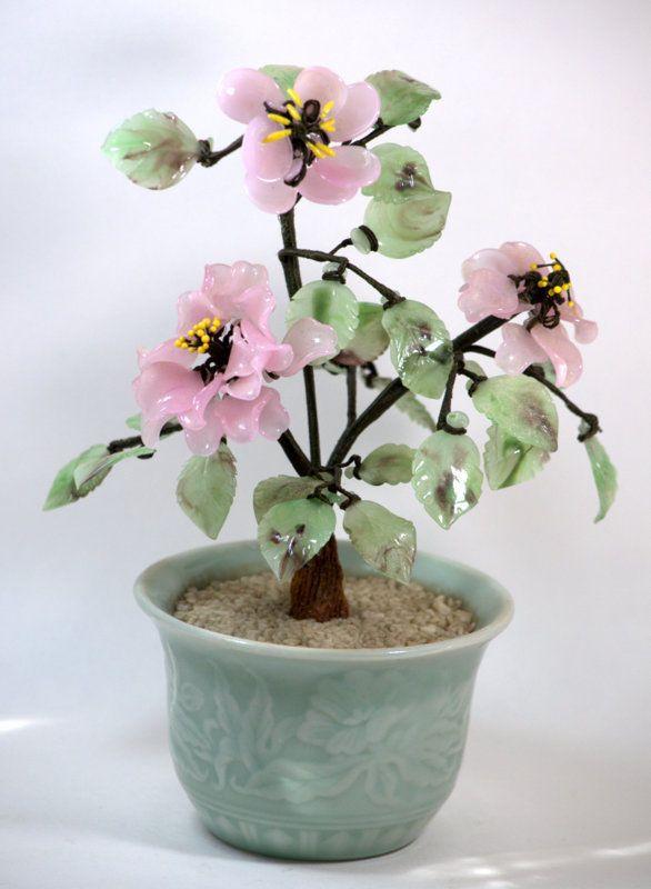 Asian Bonsai Tree Faux Jade Pink Glass Cherry Blossom Flower Celladon Pot Jade Bonsai Bonsai Baum Blumen