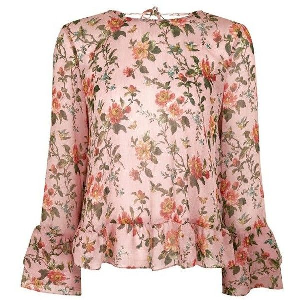 Womens topshop floral trumpet sleeve blouse 60 liked on womens topshop floral trumpet sleeve blouse 60 liked on polyvore featuring tops mightylinksfo