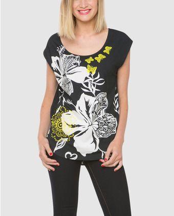 18aa1e5f408c Camiseta estampada de mujer Desigual con manga corta | blusas ...