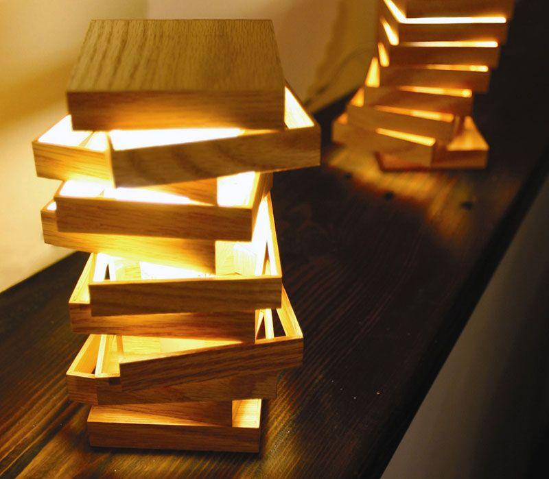 Lampe En Bois Design Cubix Idea Wooden Lamp Lighting Et Lamp Design