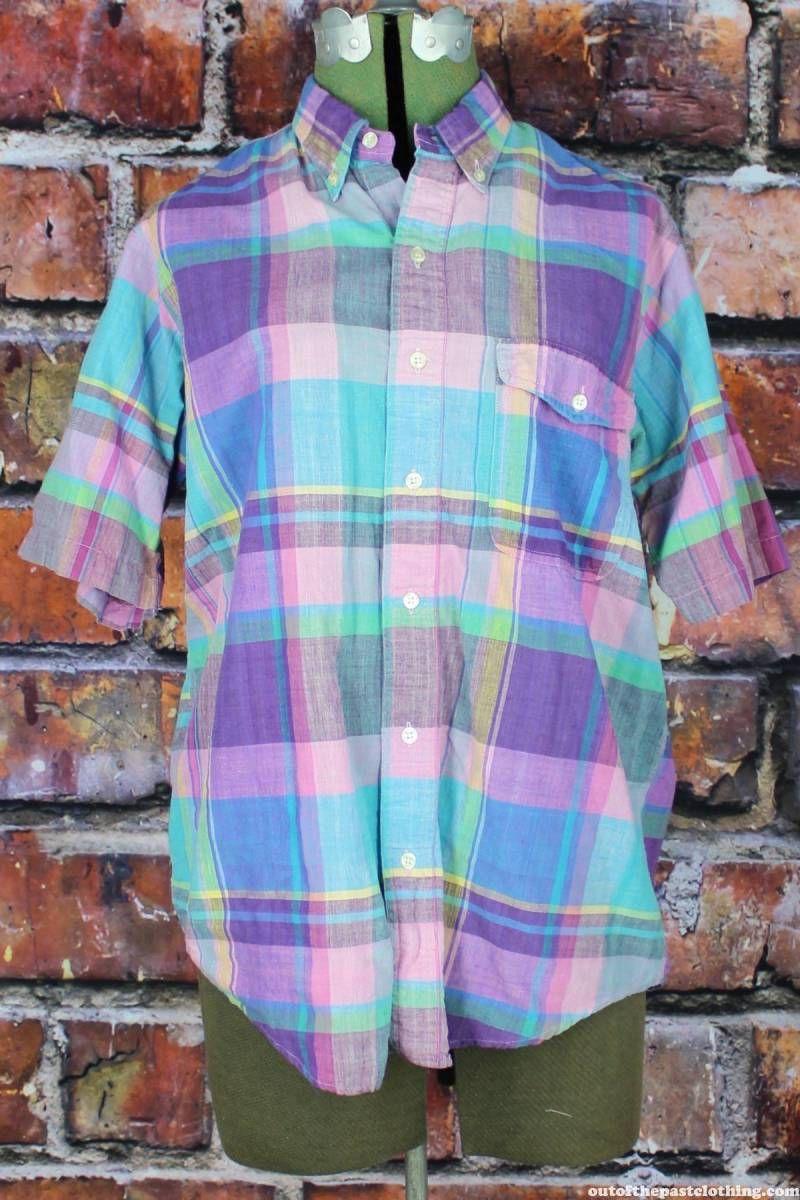 Gant vintage 1980s pastel plaid madras cotton button up