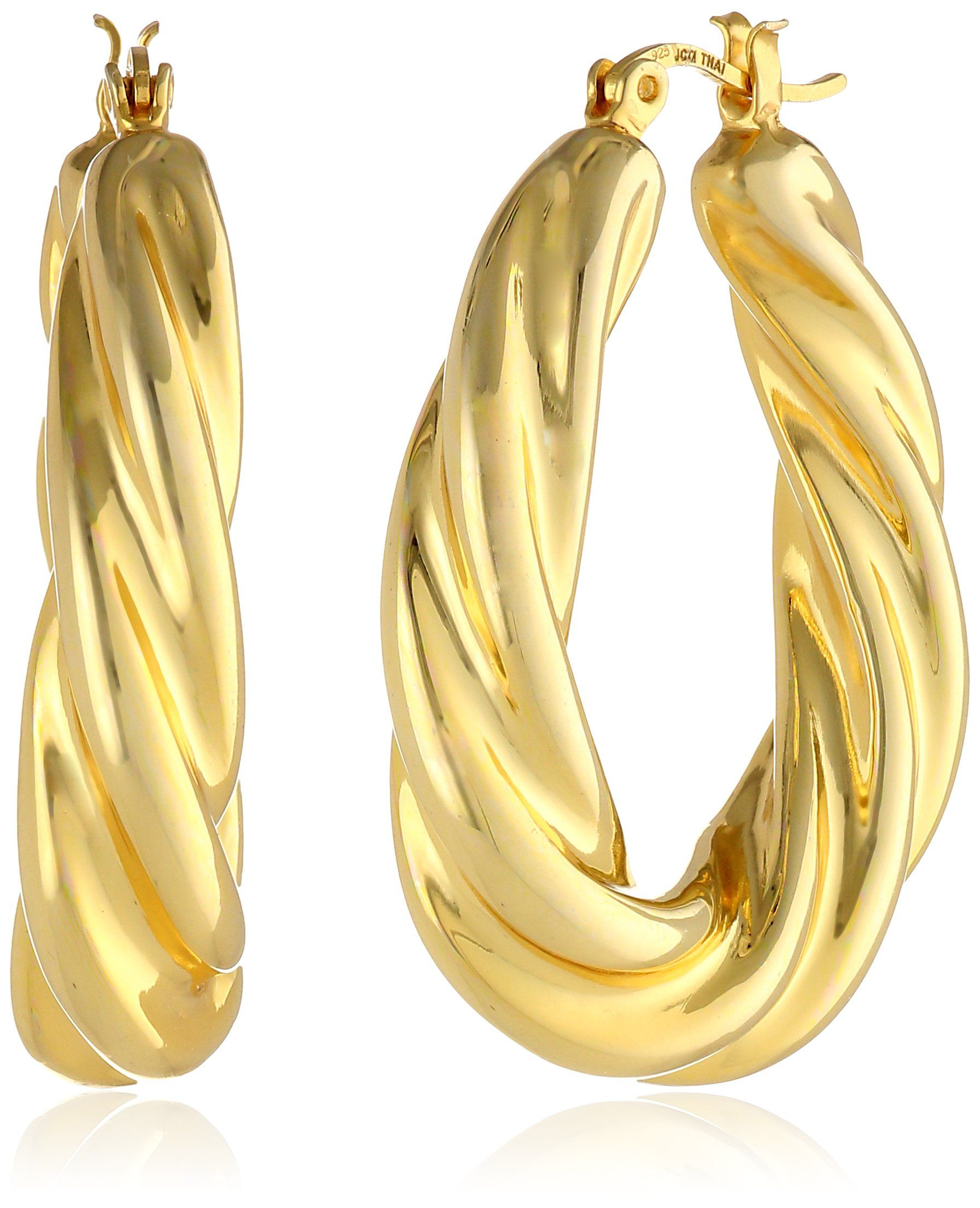 """18k Gold over Sterling Silver 1.5"""" Oval Polished Twist Hoop Earrings. A """"twist"""" on the classic hoop, this pair of earrings features a polished gold-plated sterling silver construction. Click-top backing. Crafted in .925 sterling silver. Imported."""
