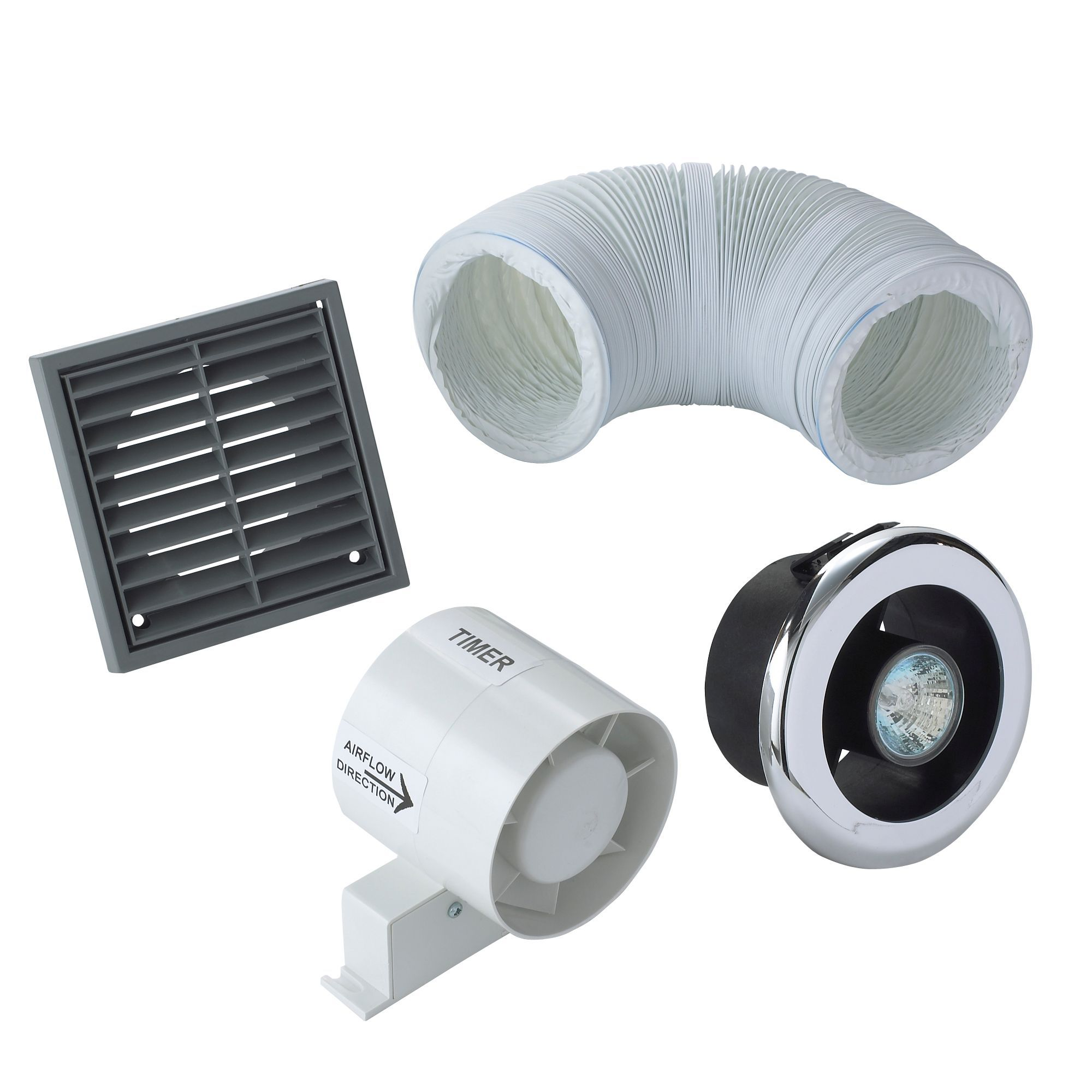 Manrose Showerlight Bathroom Extractor Fan Kit With Timer 98 Mm