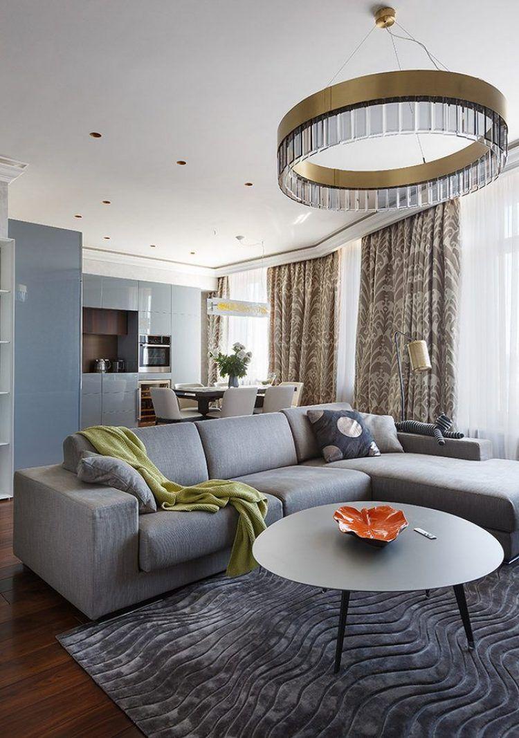 Nappali és konyha egy térben - egy gyönyörű példa szürkéskék ...