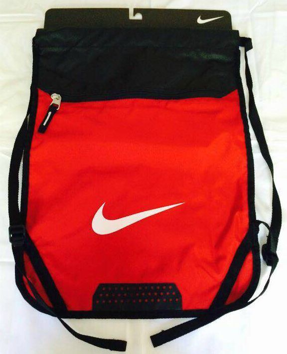 216099f8c49b Nike Team Drawstring Training Gym Sack Zipper Pocket Backpack Bag Red  Authentic  Nike  Backpack