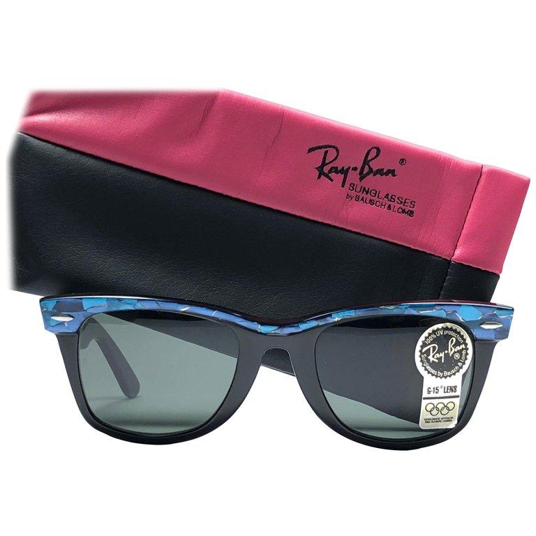 New Ray Ban The Wayfarer Blue Black B L G15 Grey Lenses Usa 80 S Sunglasses 80s Fashion Sunglasses Ray Bans