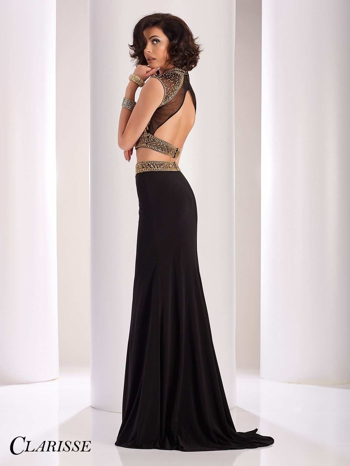 Clarisse couture blackgold open back twopiece prom dress