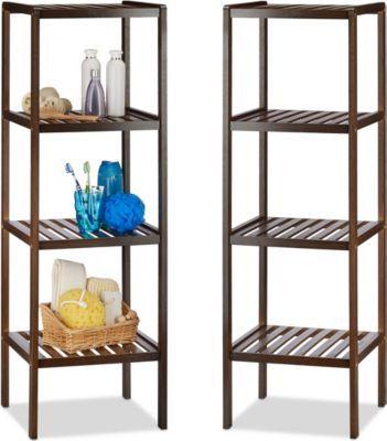 relaxdays 2er Set Bambusregal für Bad und Küche Standregal mit 4 - regale für die küche