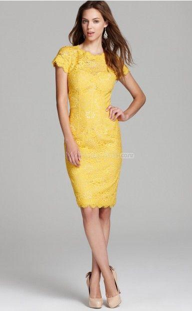 Yellow Lace Sheath Jewel Neckline Knee length Bridesmaid ...
