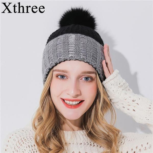 4b3b712f4b9230 Xthree Women Winter Hat For Girl Knitted Hat Keep Warm Beanie Gorro Wool  Rabbit Fur Cashmere Blend Brand Pom Pom Hat… #Discounts #BestPrice