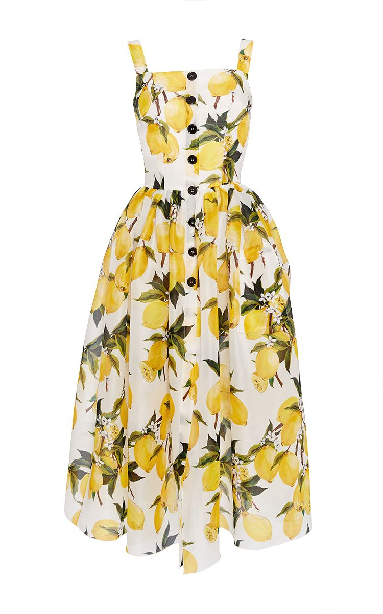 fb7eb836a43fd DOLCE   GABBANA Cotton Lemon Print And Needlepoint Dress.  dolcegabbana   cloth  dress