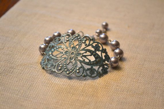 Brio: Hand Patina Ornate Cuff with gray pearls Bracelet - Antique Silver