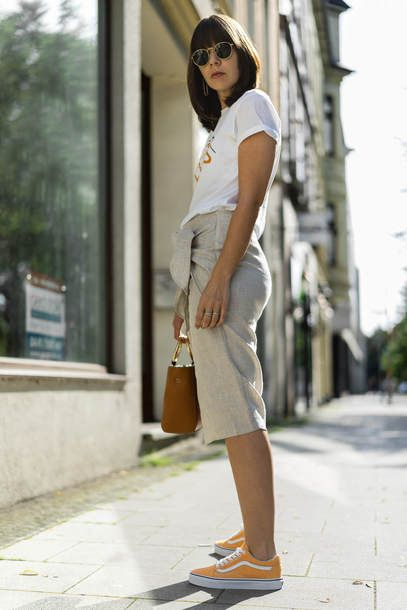 d388a9136156a9 Ganni Moulin Printed Cotton T-shirt Teamed With Mango Knot Linen Skirt And  Vans Citrus Orange Old Skool Trainers Plus Simon Miller Bonsai Leather Bag  And ...