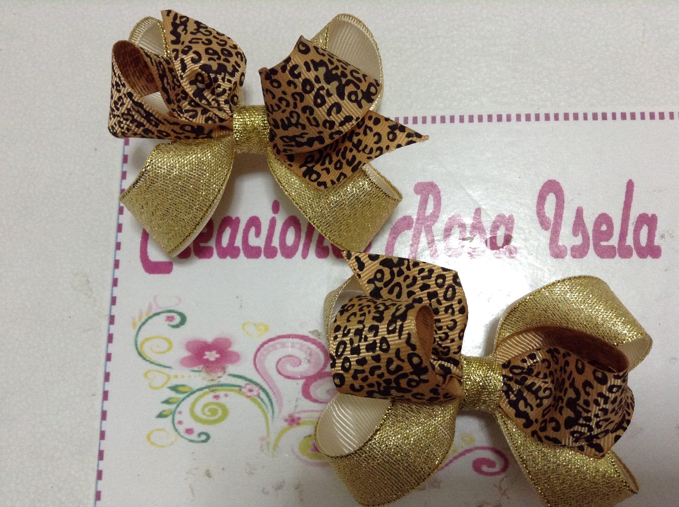 Par de moños para colitas dorado y leopardo  5cdb89577d6a