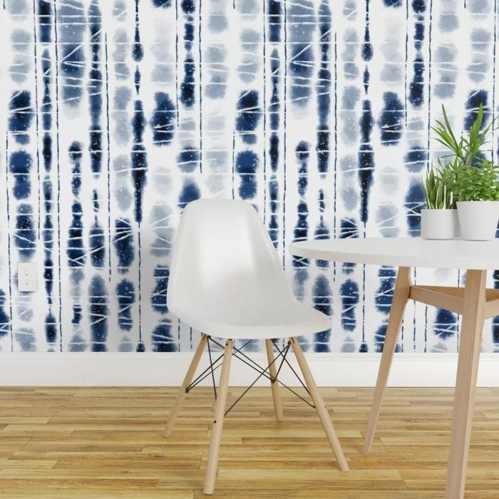 Bungalow Rose Deberry Shibori Peel And Stick Wallpaper Roll Wayfair In 2020 Indigo Wallpaper Peel And Stick Wallpaper Stick On Wallpaper