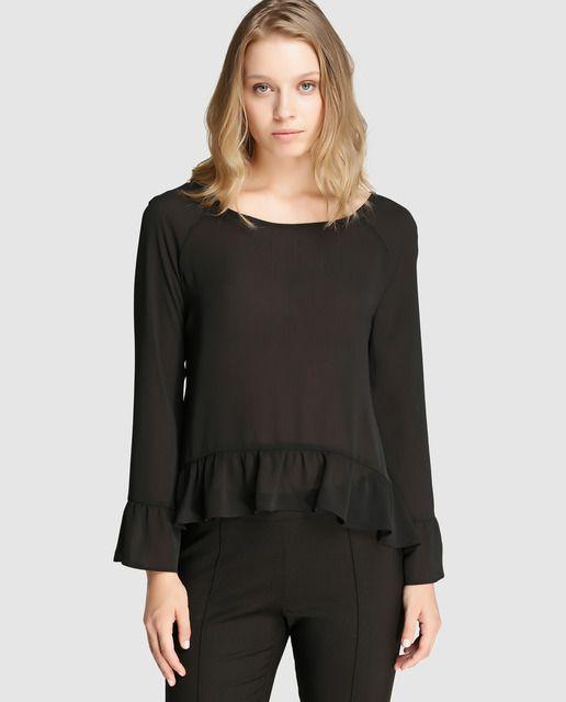 d7988ddb640d Blusa negra de mujer Amitié con volante