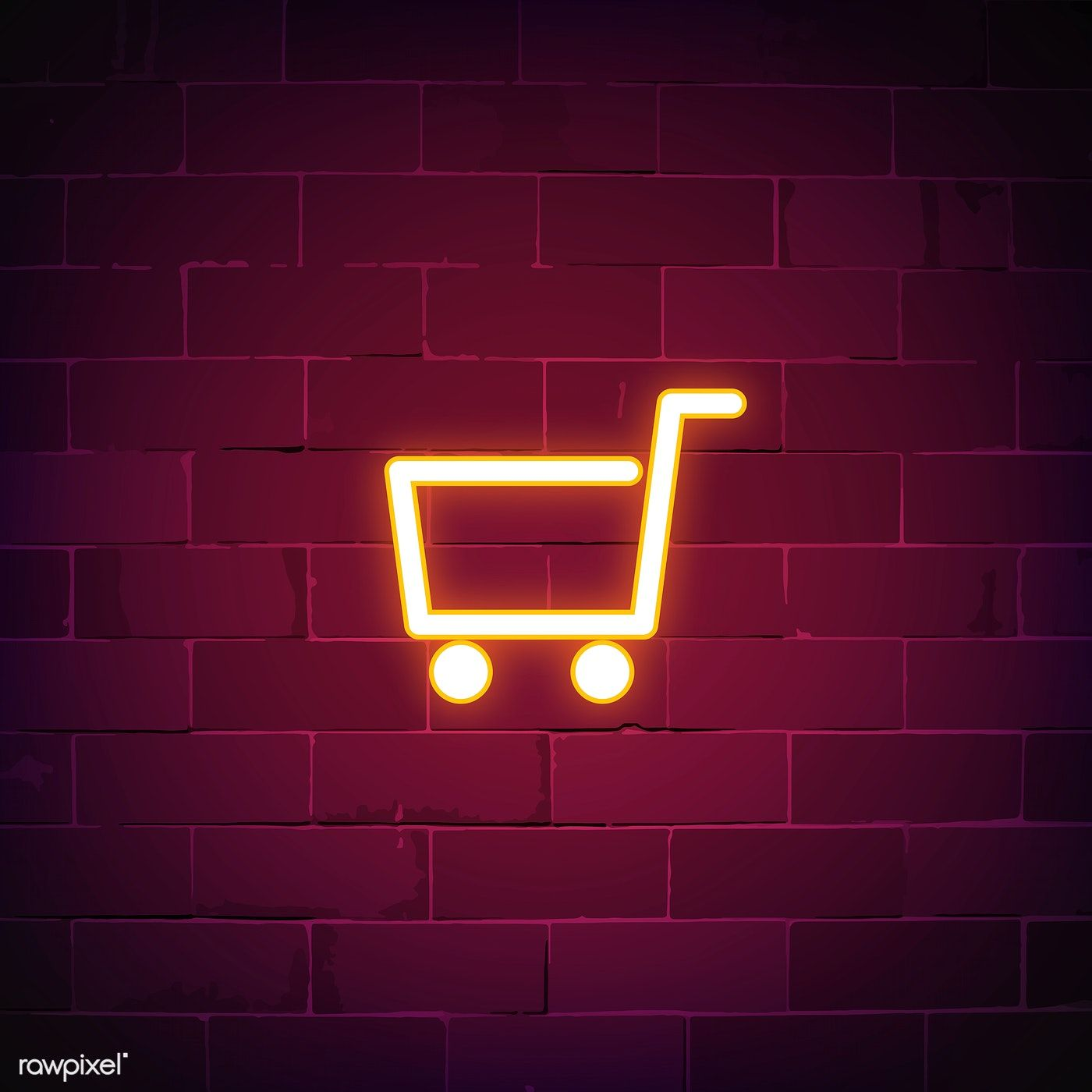 Shopping cart neon sign vector free image by rawpixel
