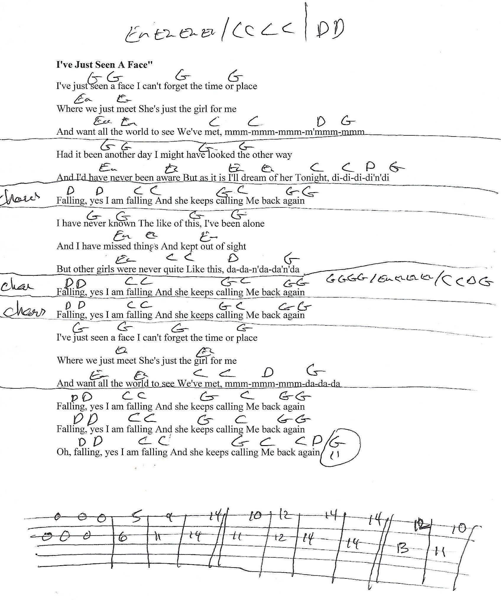 Ive Just Seen A Face Beatles Guitar Lesson Chord Chart With