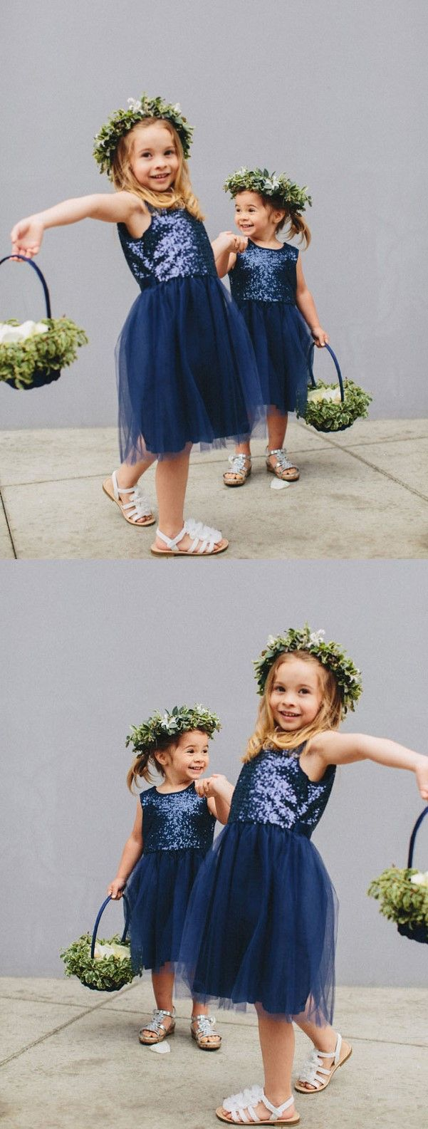 Aline round neck midcalf navy blue tulle flower girl dress with