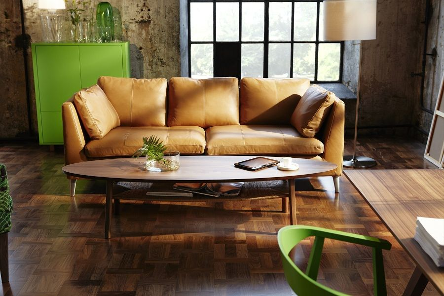 Canap en cuir camel ikea stockholm pinterest d co for Ikea salon cuir