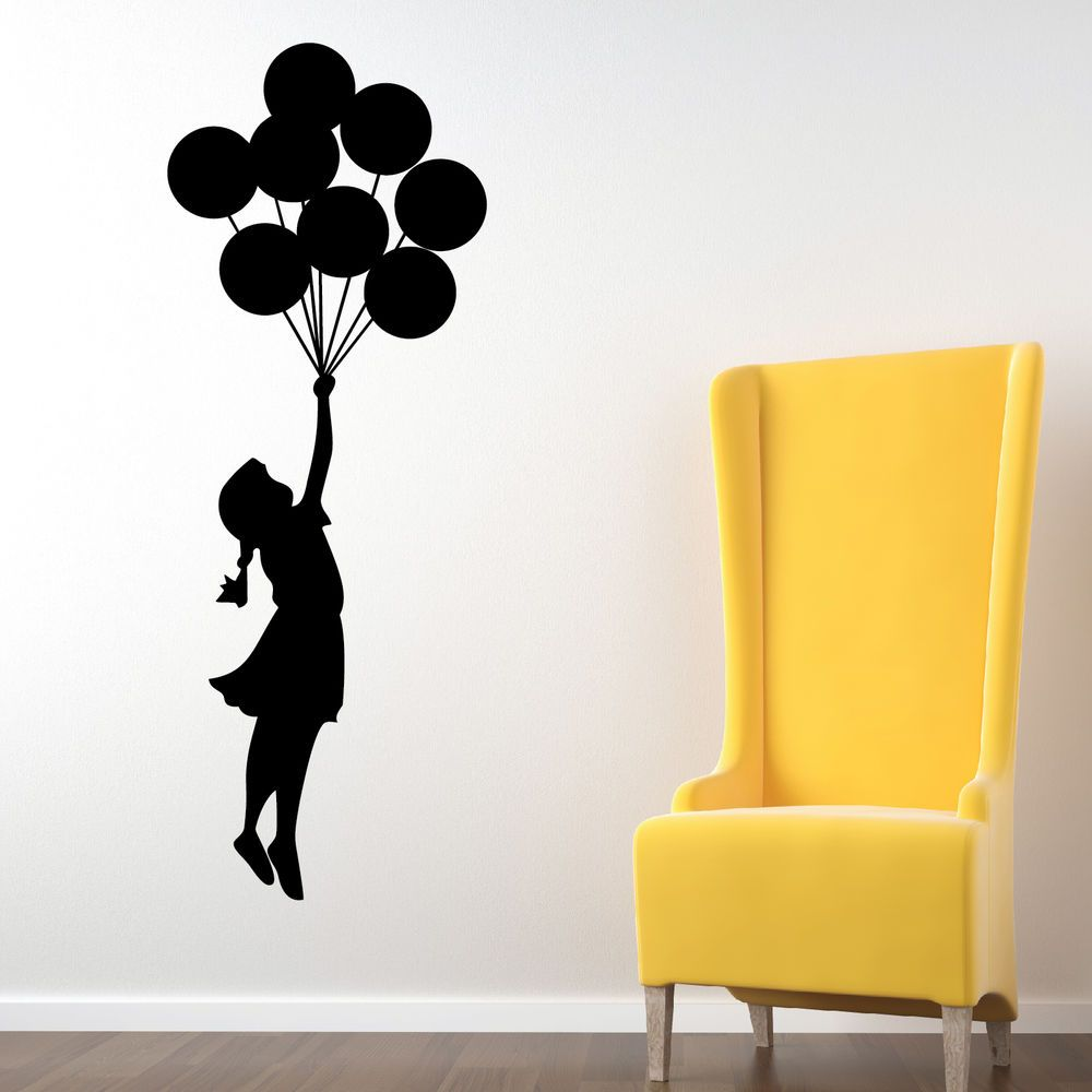 Banksy Balloon Floating Wall Stickers, Wall Graphics, Wall Art, Wall ...
