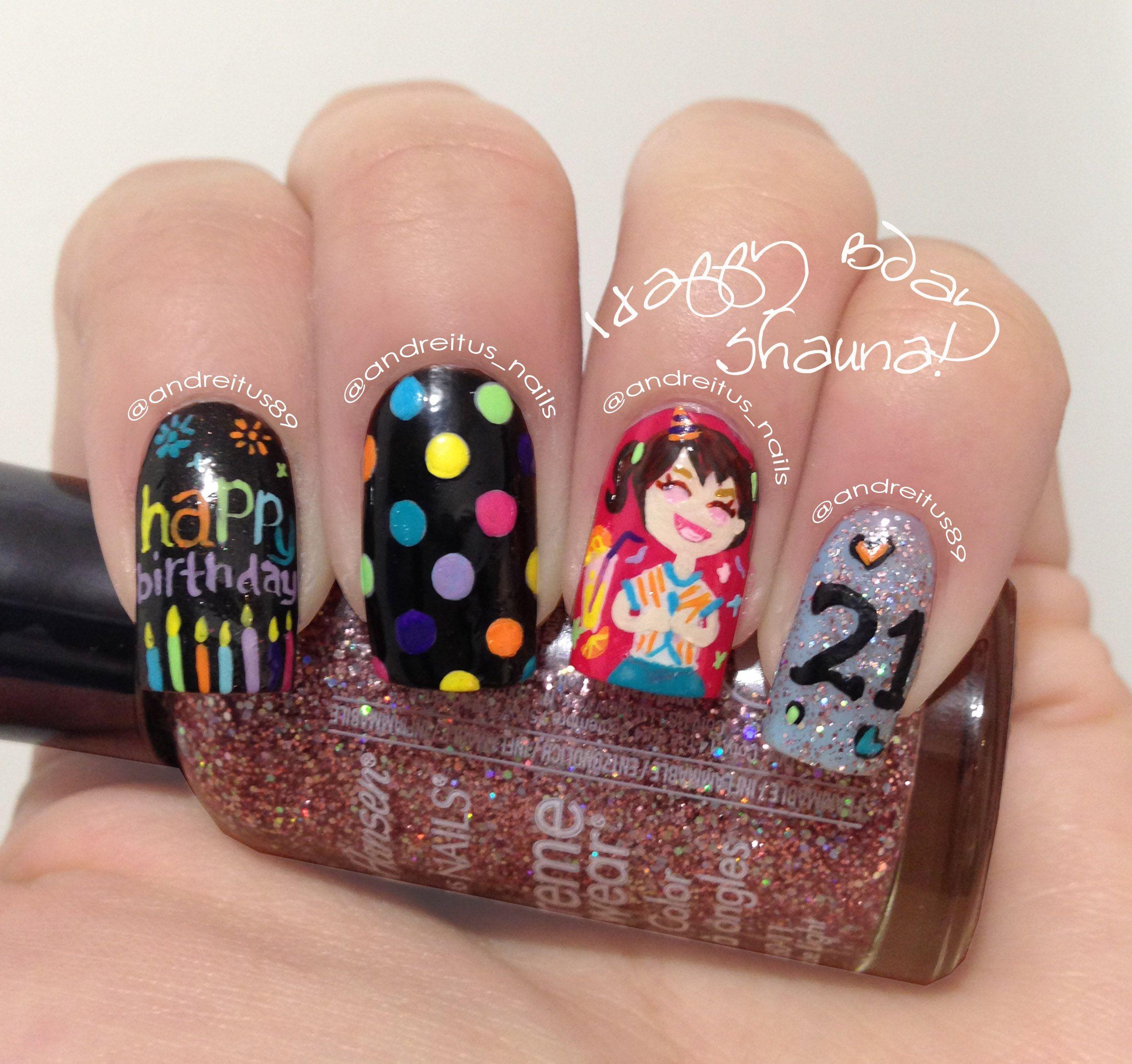 21 birthday nails Nail art NOTD Nails Pinterest 21st