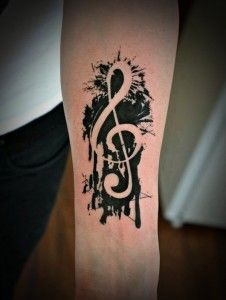 Photo of Music Tattoo Ideas; G Clef, Small Notes, Lyrics, Statements, Instruments & Types
