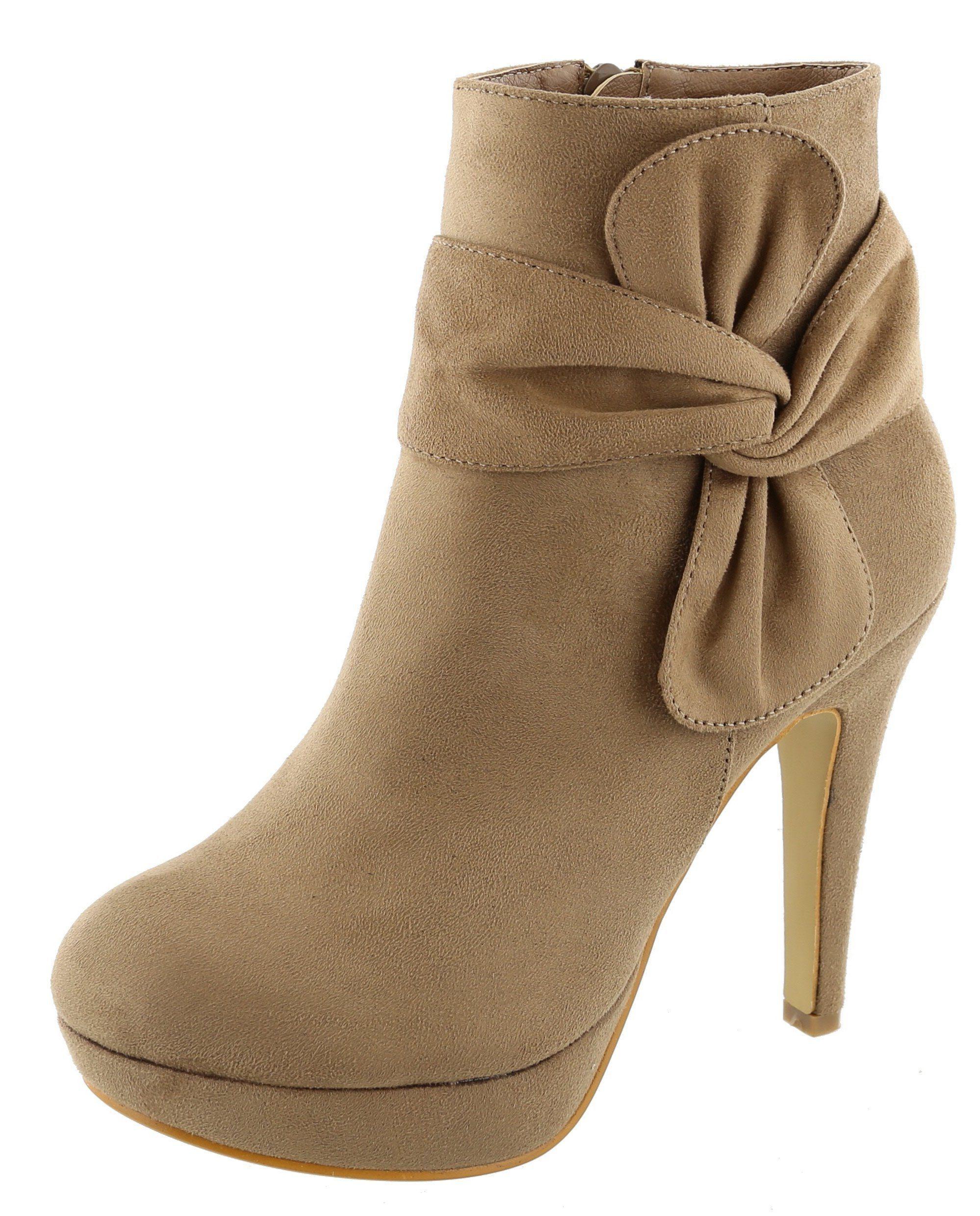 Women's Side Bow Knot Platform Stiletto High Heel Ankle Bootie