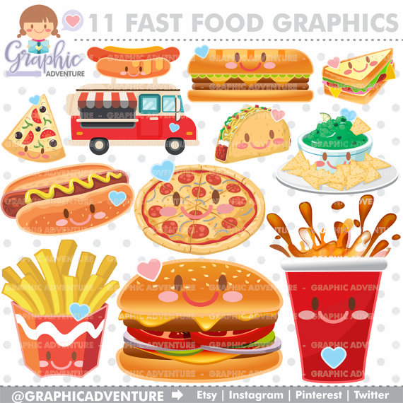 fast food clipart fast food graphics commercial use kawaii