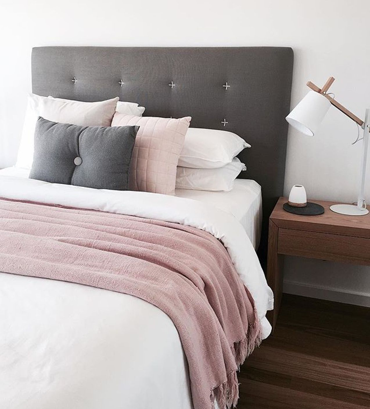 Grey pink and white bedroom colour scheme home pinterest