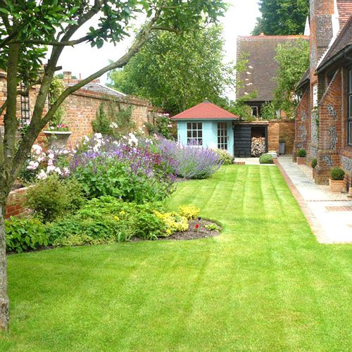 Ideas for boundary re path and lawn and love the regular pots along landscaping and garden planting design for a walled garden in oxfordshire workwithnaturefo