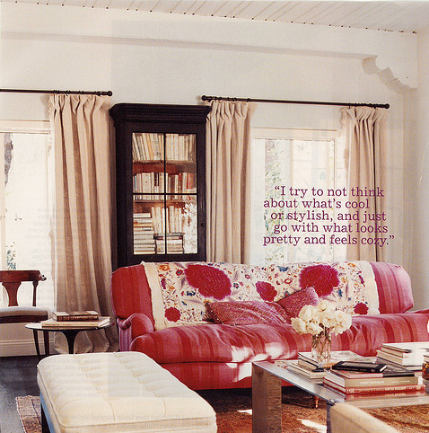 Curtains. Amanda Peet's living room from  Domino Magazine. Photos by Coliena Rentmeester. http://www.colienarentmeester.com/