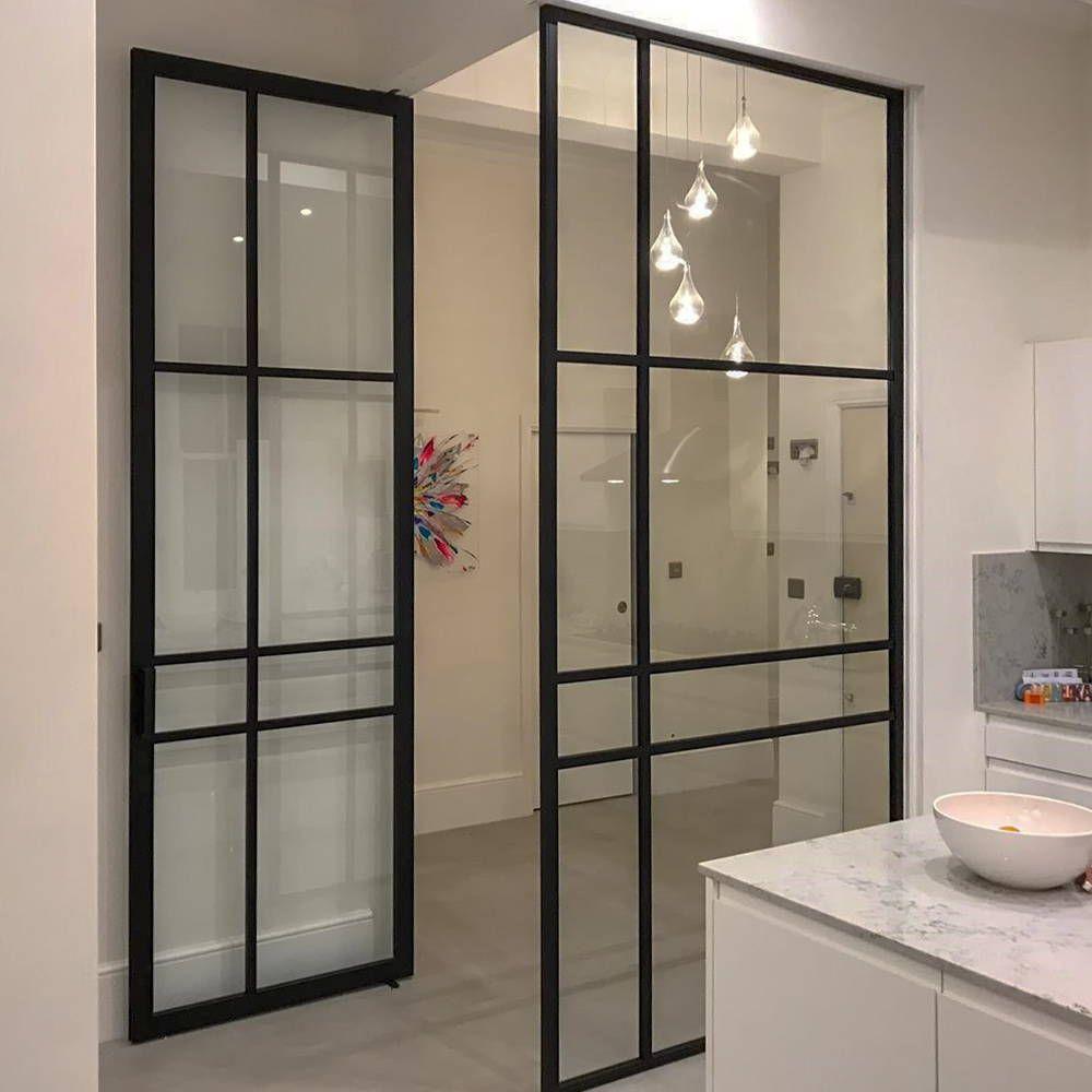 Crittal Style Glass Door Between Hall And Kitchen Crittall Pivot Doors Glass Door