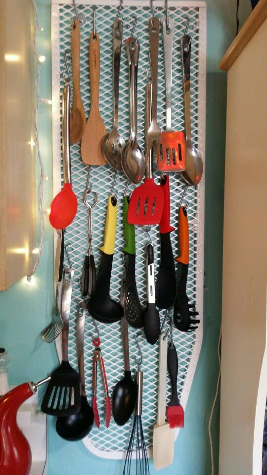 Easy Diy Utensil Storage With A Repurposed Ironing Board