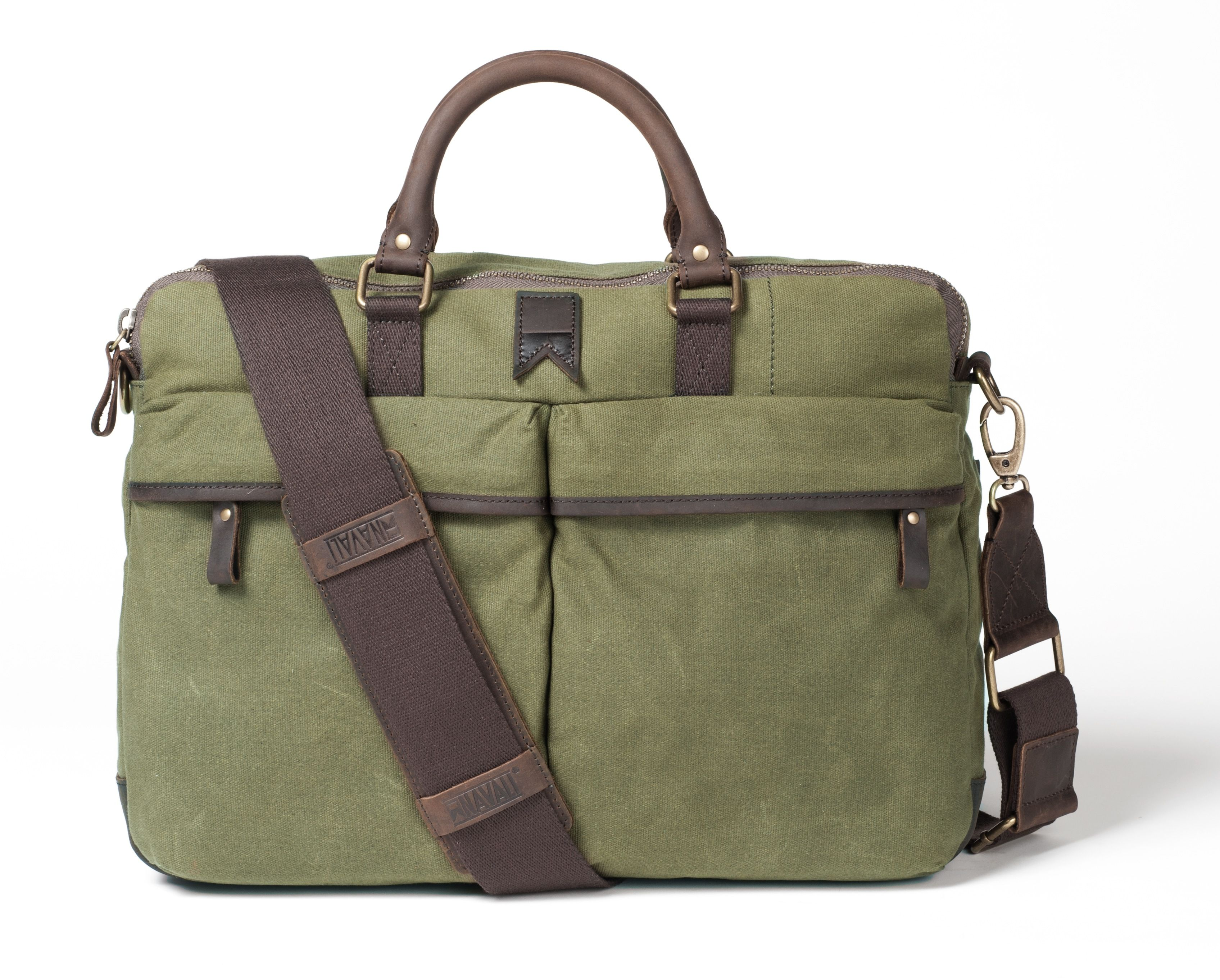 00b43fd7922e Navali Waxed Gunner Briefcase (Olive Canvas)  149.99 at www.navali ...
