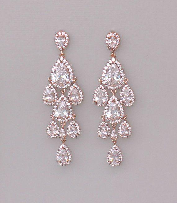 0ce0325f9 Rose Gold Chandelier Earrings, Rose Gold Bridal Earrings, Crystal Teardrop  Earrings, Wedding Earring