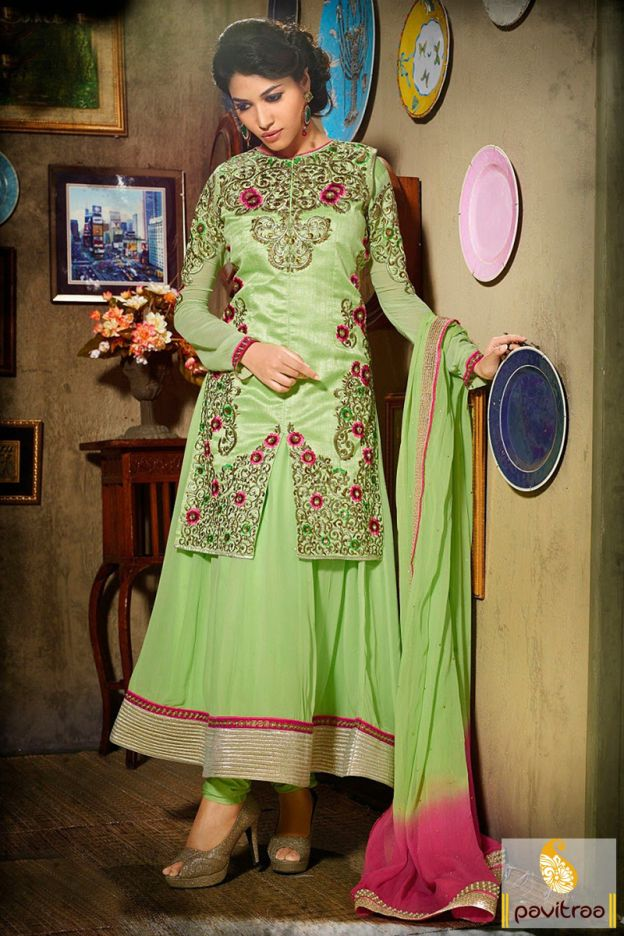 Sophistic design medium sea green color georgette designer bridal ...