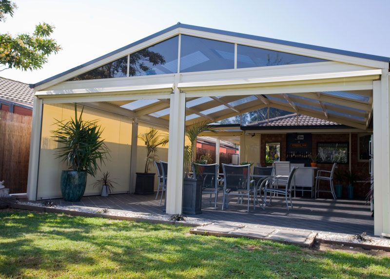 Roof Design Ideas: Gable Pergolas With Vista Blinds