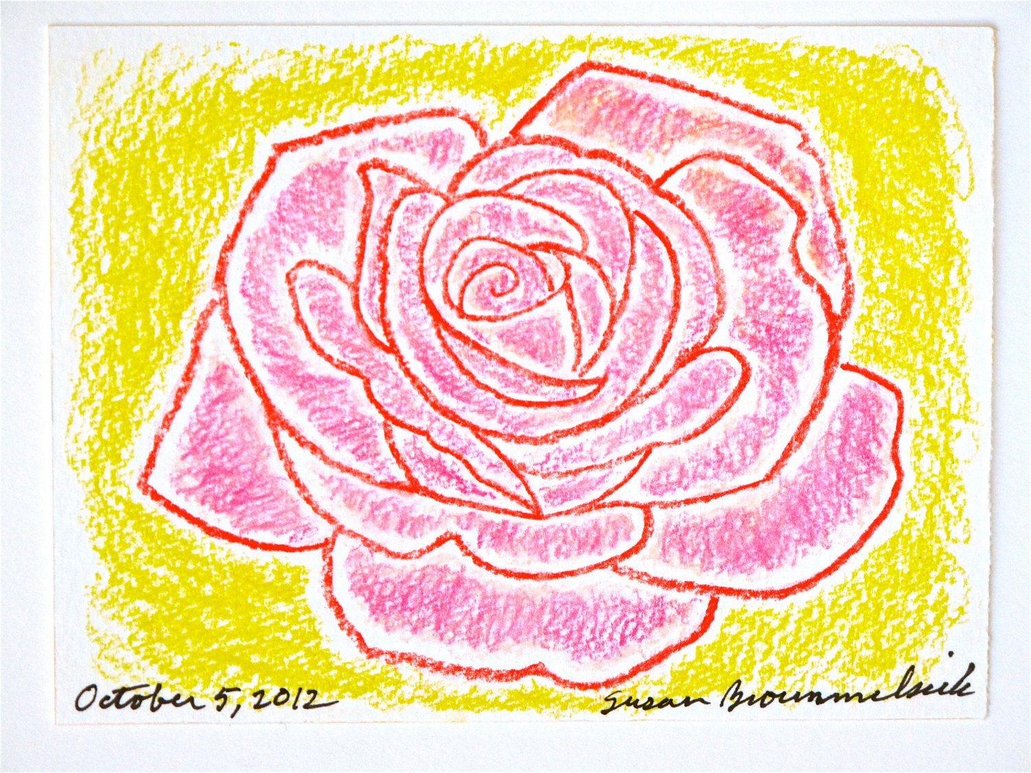 """Flower Art of the Day, October 5, 2012 - 41/2""""X6"""" pastel drawing. $20.00, via Etsy."""