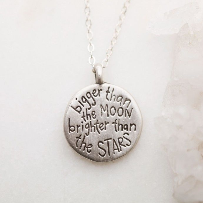 """The Moon and Stars necklace is hand-carved with a crescent moon and a cubic zirconia stone set for each of your loves. The artist's handwritten words are etched on the backside. Charm measures just under 1"""" across. Beautiful!"""