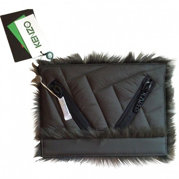 Green Kenzo Kalifornia Fur Clutch KENZO (€159) ❤ liked on Polyvore featuring bags, handbags, clutches, kenzo handbags, green clutches, fur handbags, green handbag and green purse