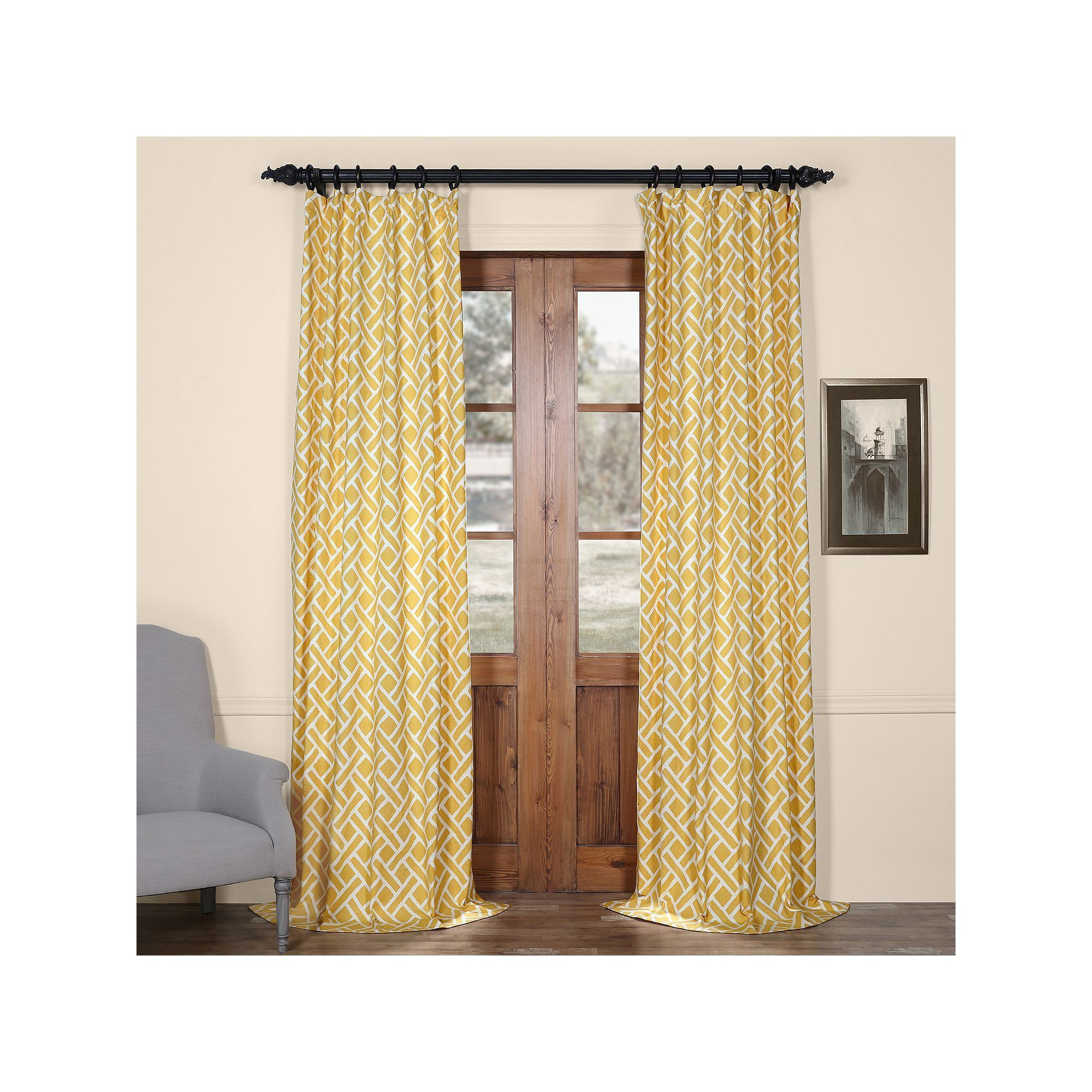 Eff martinique printed curtain yellow products curtains and