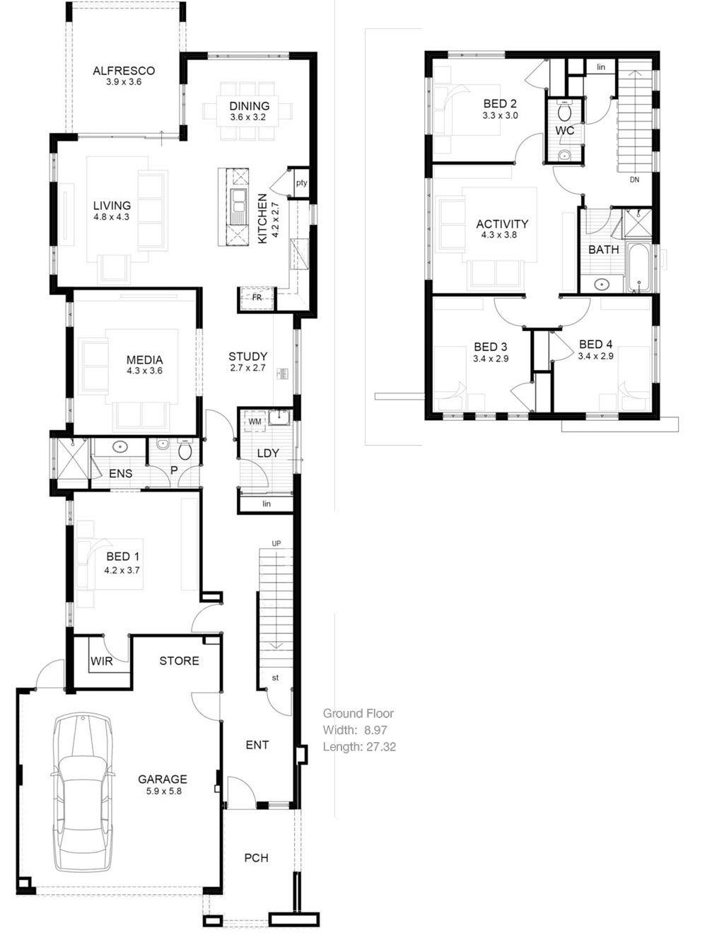 Lot narrow plan house designs craftsman narrow lot house for Beach house designs and floor plans