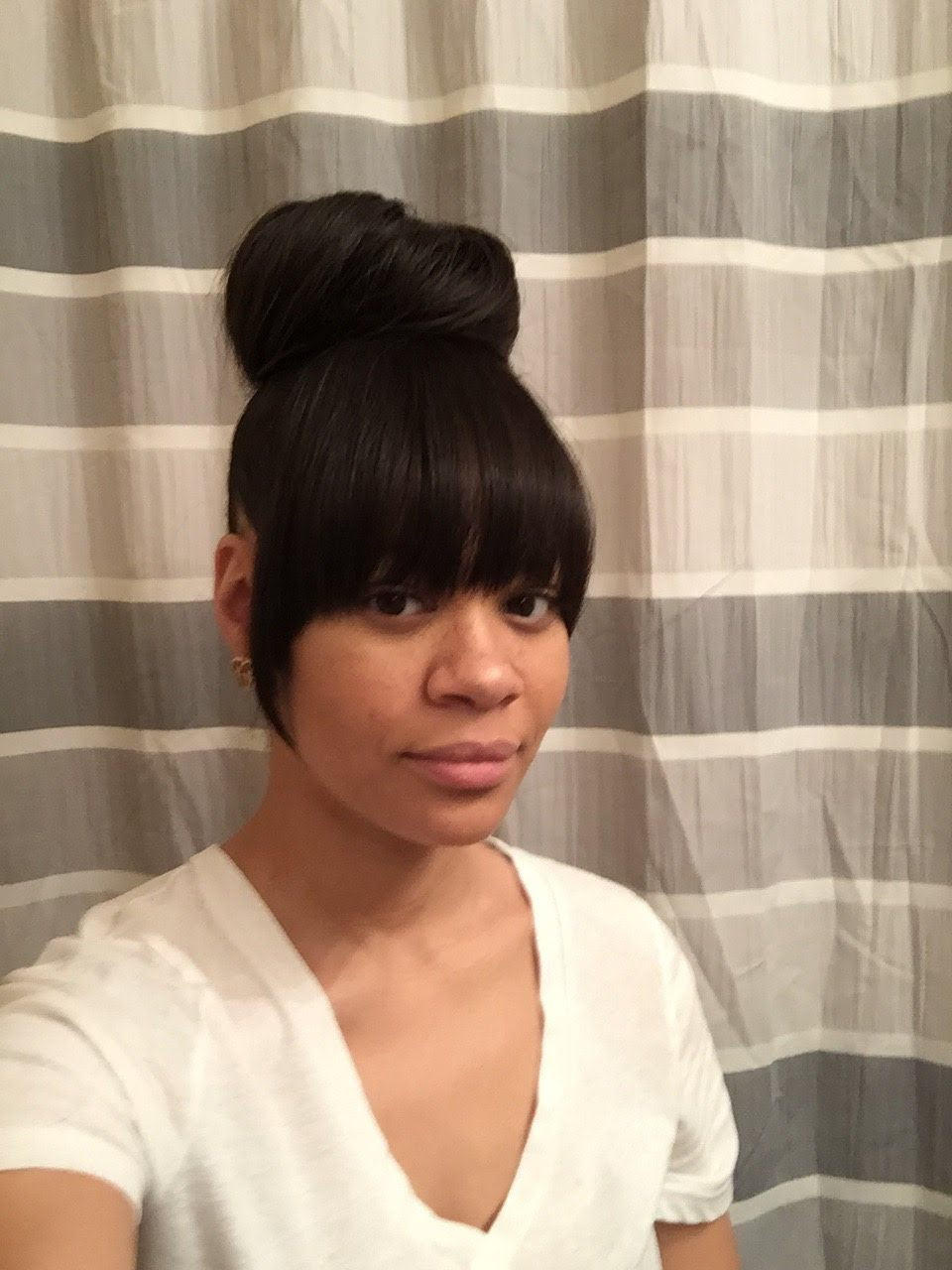 Faux Bang With Bun Hair Extensions Added For Bangs And Fuller Bun