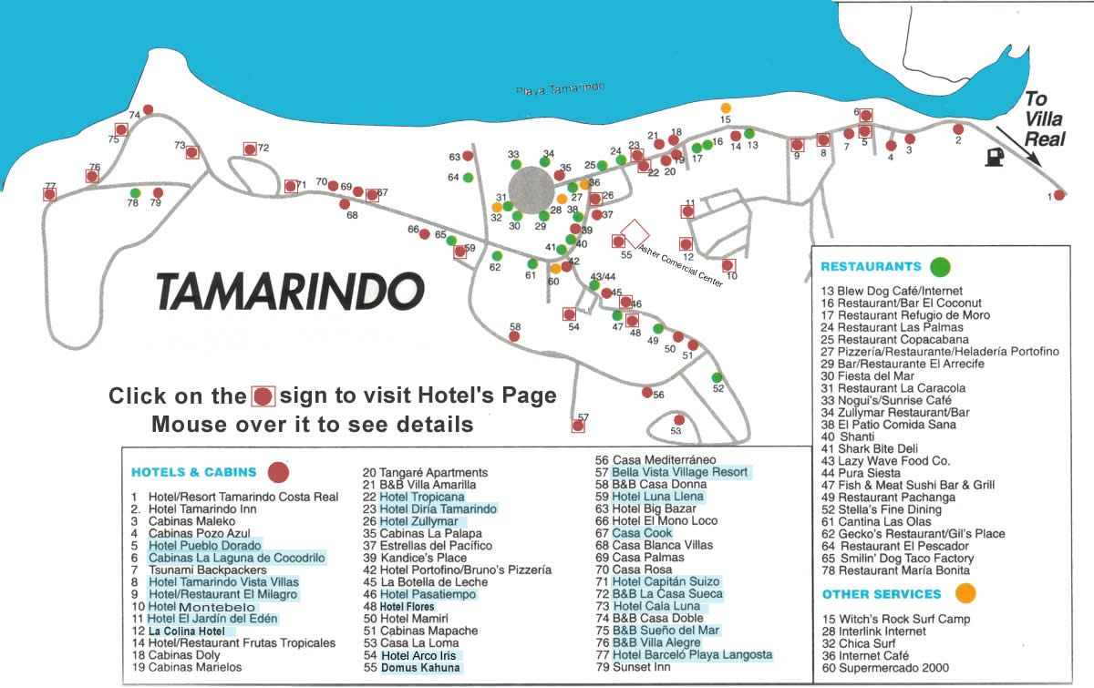 Tamarindo Map Costa Rica Maps With Hotels Navigation Rollover For Hotel Details