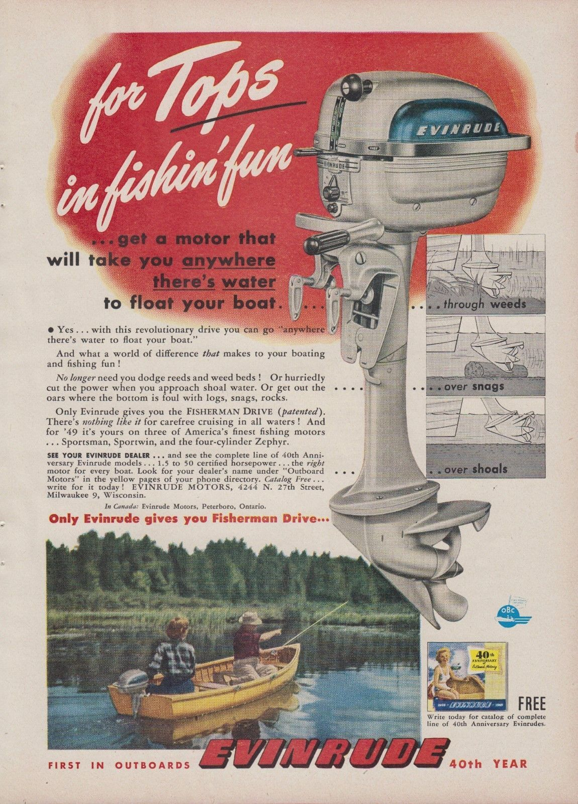 medium resolution of 1949 evinrude zephyr outboard motor ad w fisherman drive