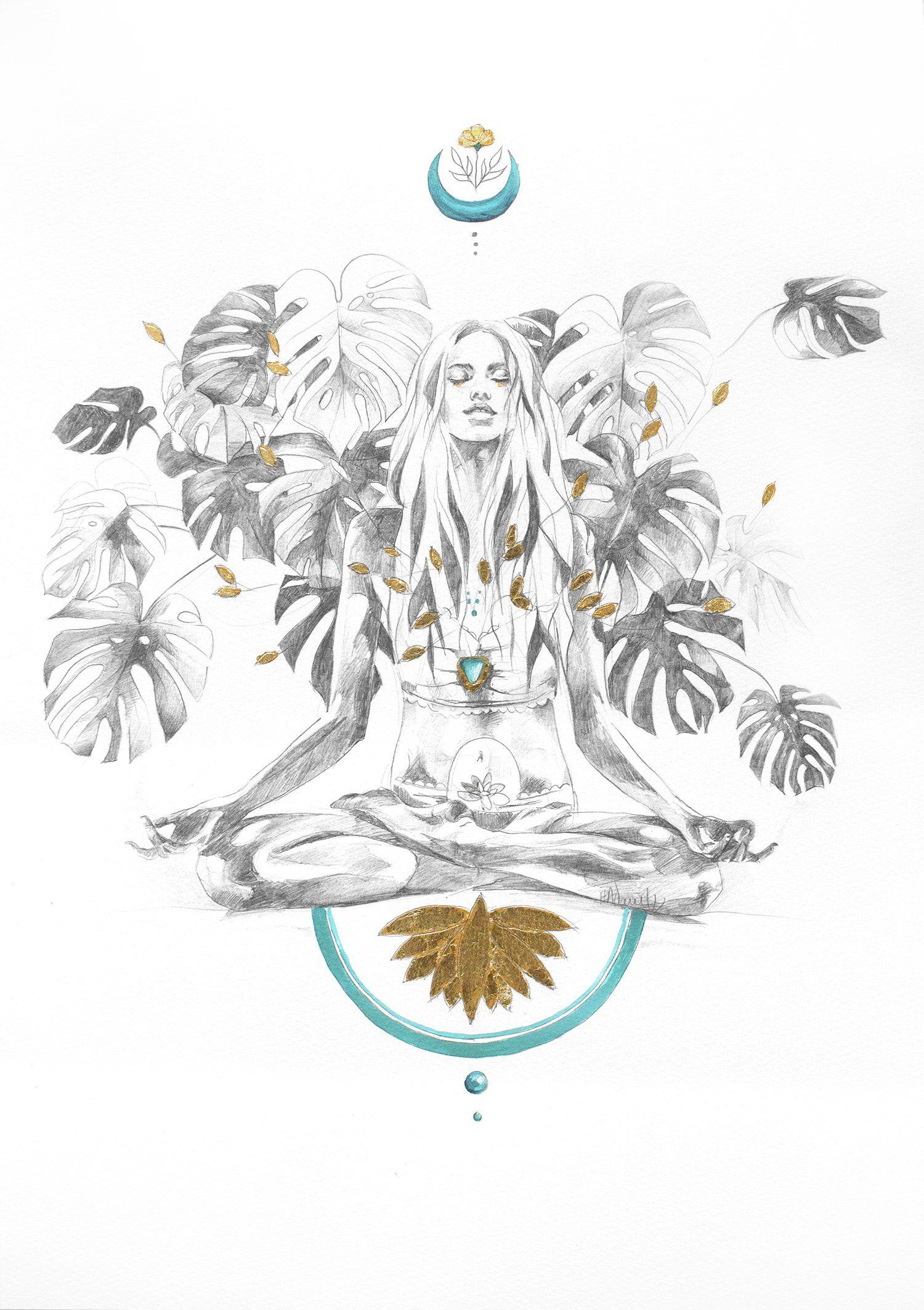 Kleurplaten Mediteren Pin Via Dromenvangers Winkeltje Patroon Tekening Prent Sjabloon Tropic Sunshine Van Hann Yoga Art Spiritual Art Art Prints Online
