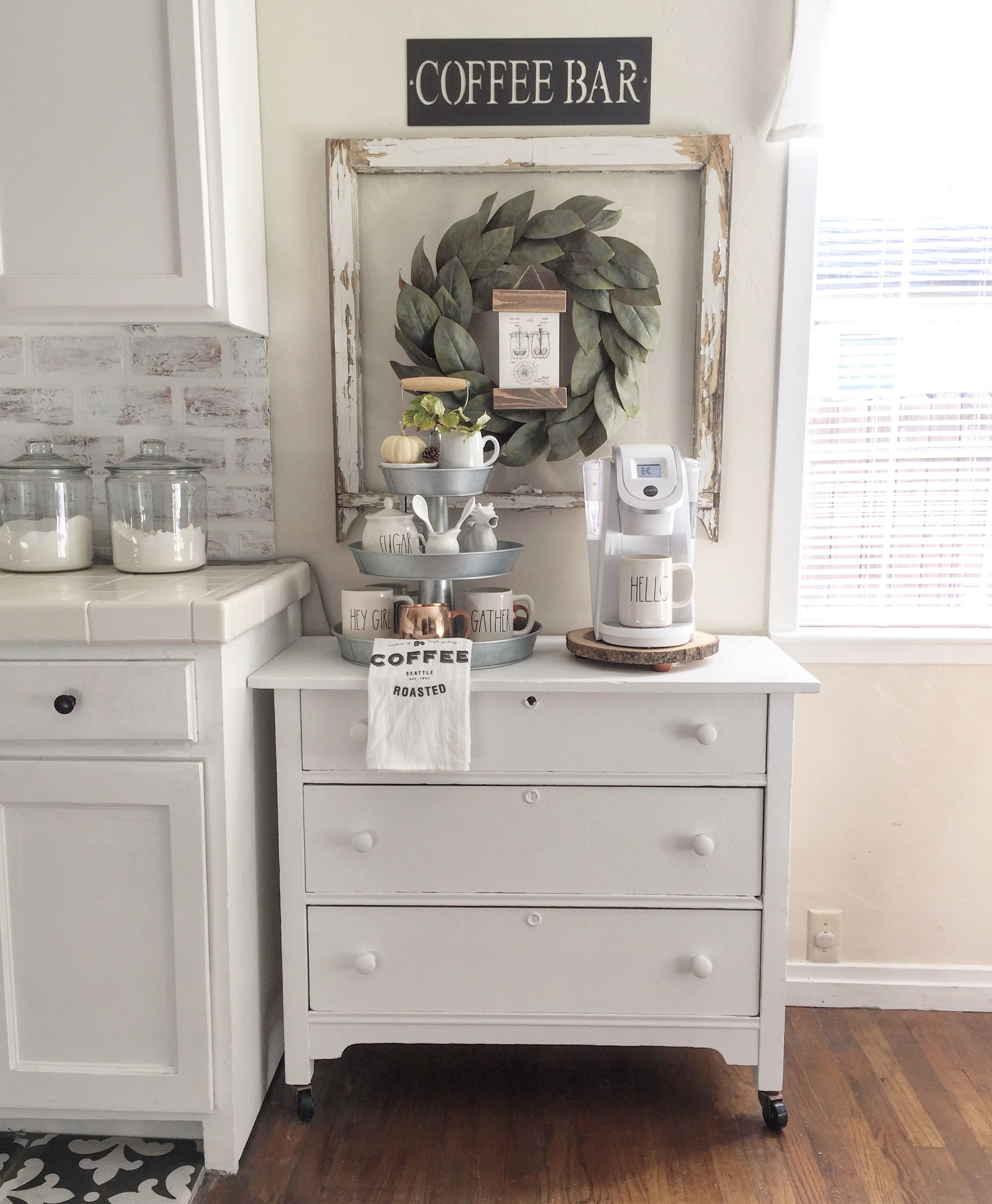 Home Coffee Bar Design Ideas: Coffee Bar, But With Dresser Painted In Antiqued Black Fox