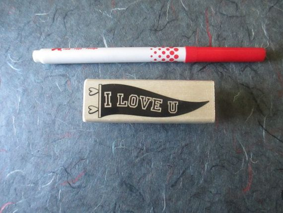 I love you banner pennant stamp wood block by TheSupplyDestash