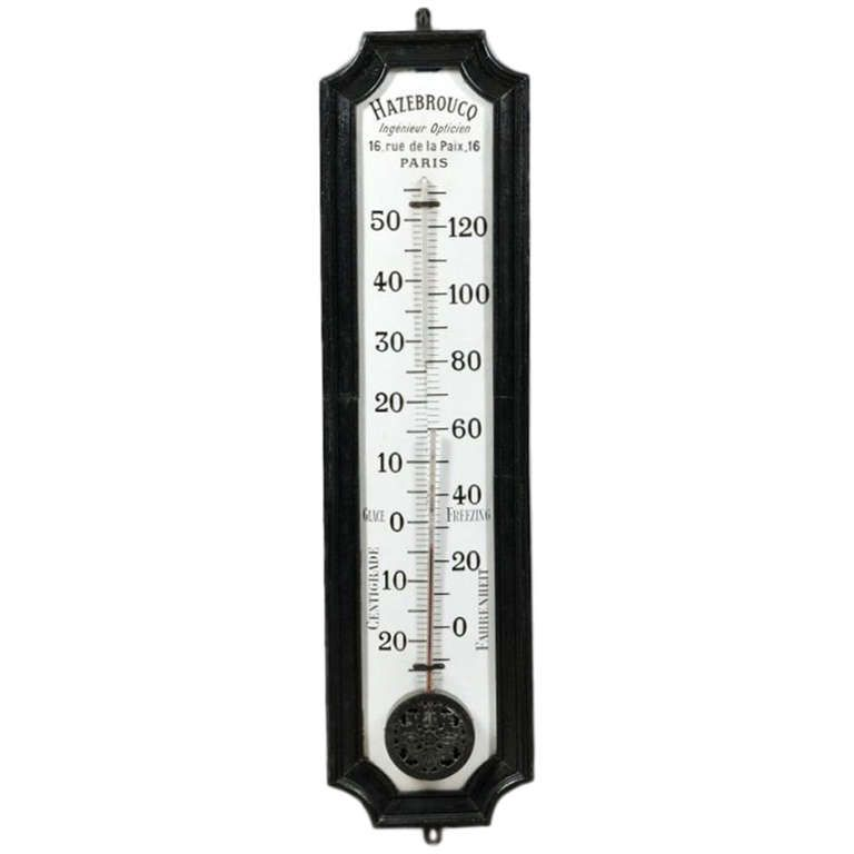 """A Large French Optician's Trade Sign Thermometer, 49"""" Tall"""